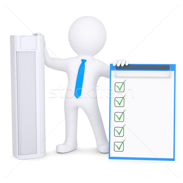 3d man holding conditioner and checklist Stock photo © cherezoff
