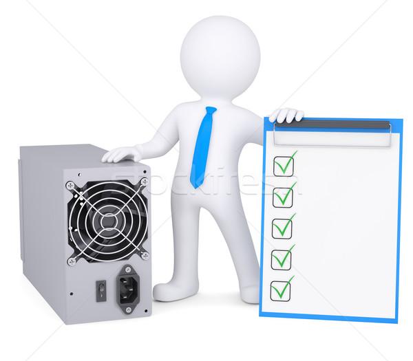 3d man ordinateur source de courant personne 3d isolé Photo stock © cherezoff