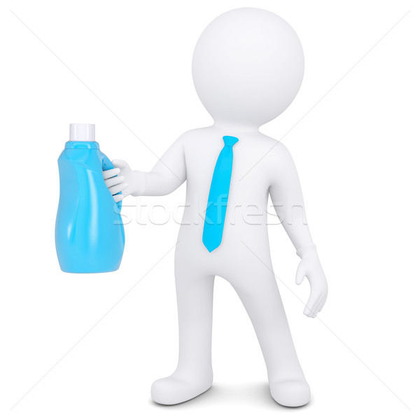 3d white man with bottle of household chemicals Stock photo © cherezoff