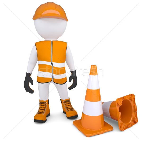 3d man in overalls beside traffic cones Stock photo © cherezoff
