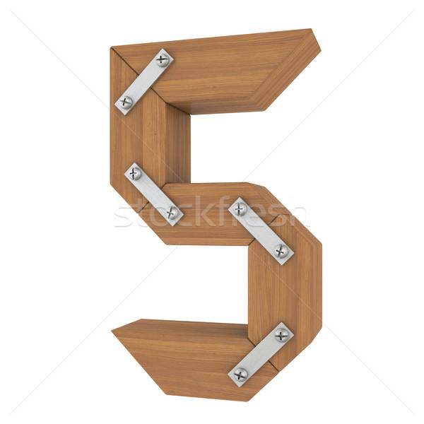 Stock fotó: Fából · készült · szám · öt · izolált · render · fehér