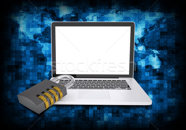 Binary code and laptop with combination lock Stock photo © cherezoff