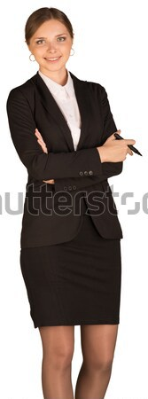 Businesswoman stand holding paper holder and pen Stock photo © cherezoff