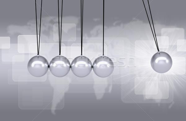 Wiege Executive Spielzeug Weltkarte Hintergrund Bewegung Stock foto © cherezoff