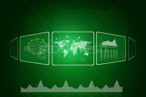 World map, network, graphs and wire-frame spheres Stock photo © cherezoff