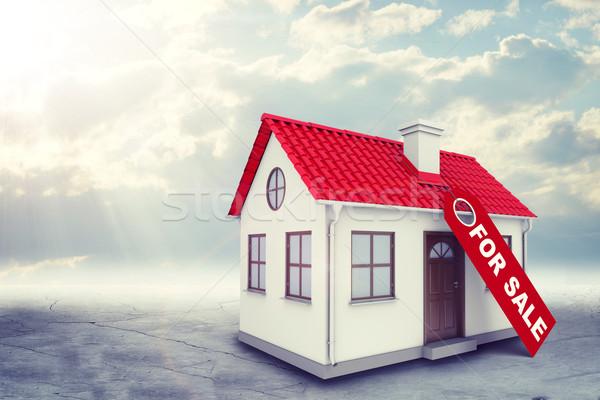Casa blanca etiqueta venta rojo techo chimenea Foto stock © cherezoff