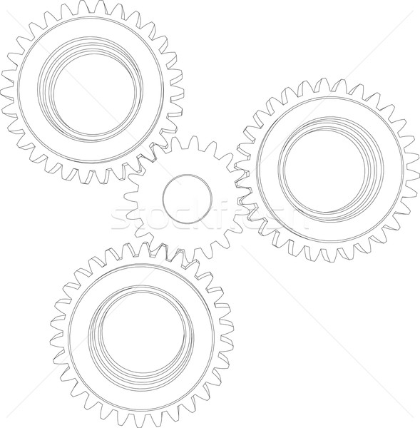 Sketch of four wire-frame gears. Front view. Vector illustration  Stock photo © cherezoff
