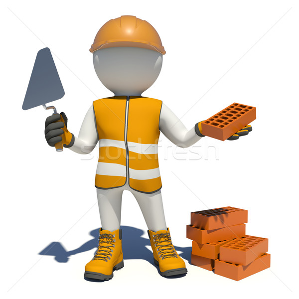 Worker in overalls holding trowel and red brick. Isolated Stock photo © cherezoff