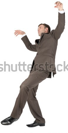 Businessman leaned back with empty hands on white Stock photo © cherezoff