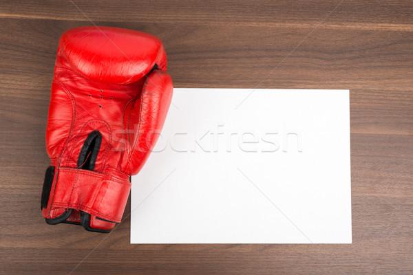 Boş kart ahşap masa kâğıt kart beyaz Stok fotoğraf © cherezoff