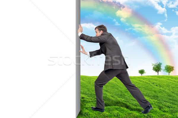 Businessman changing emptyness on nature landscape Stock photo © cherezoff