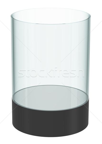 Pusty szkła cylinder odizolowany 3d ilustracji Zdjęcia stock © cherezoff