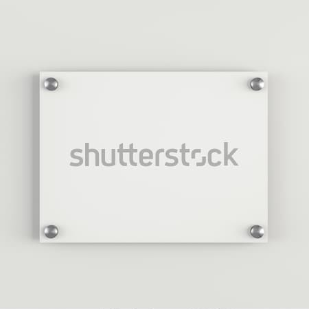 Glass plate mockup on white background Stock photo © cherezoff