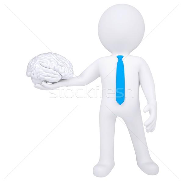 3d man holding a brain Stock photo © cherezoff