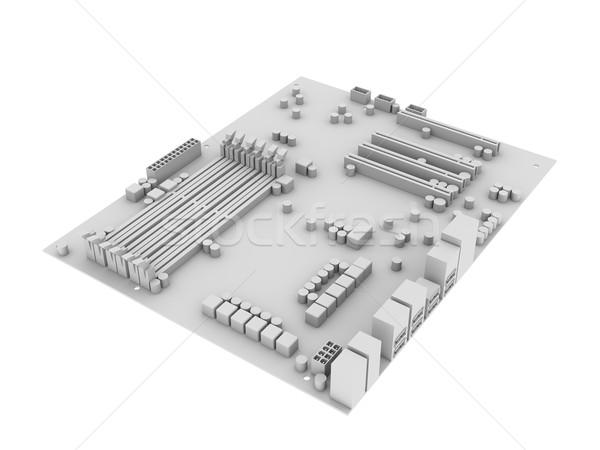 Fehér alaplap izolált render absztrakt technológia Stock fotó © cherezoff