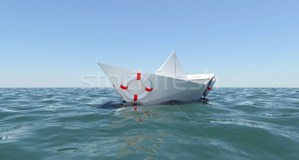 White paper boat floating in the sea water Stock photo © cherezoff