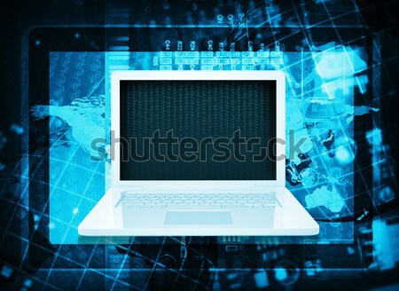 Laptop. Microcircuit, tablet pc and world map Stock photo © cherezoff