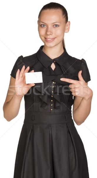 Işkadını boş kart yalıtılmış beyaz kadın Stok fotoğraf © cherezoff