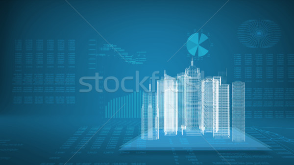 Glowing wire-frame buildings on transparent planes Stock photo © cherezoff