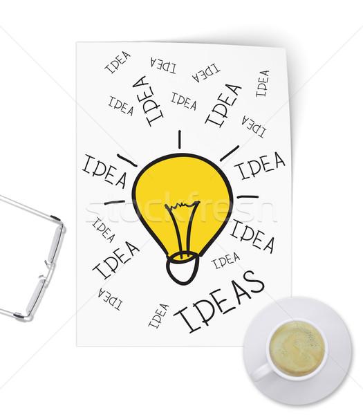 Illuminating idea in form of sketch paper Stock photo © cherezoff