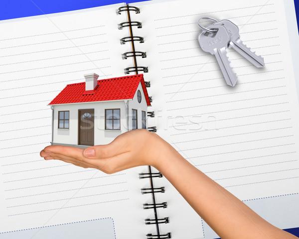 Humans hand holding house with keys Stock photo © cherezoff