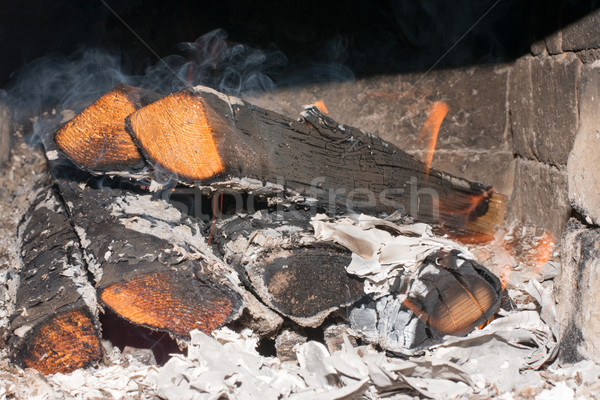 Wooden logs in stove Stock photo © cherezoff