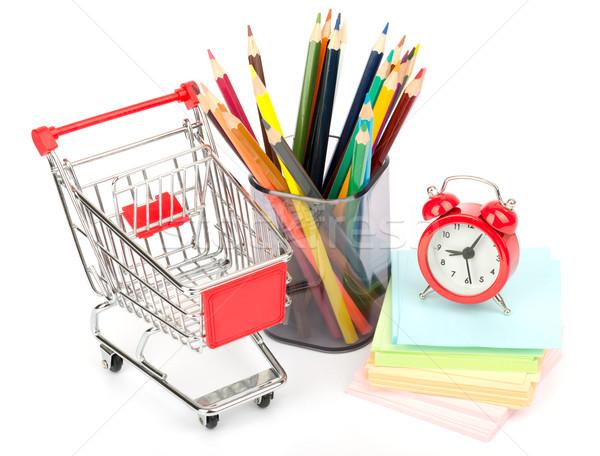 Zsírkréták óra bevásárlókocsi fehér ceruza csésze Stock fotó © cherezoff