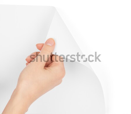 Womans hand giving small empty paper Stock photo © cherezoff
