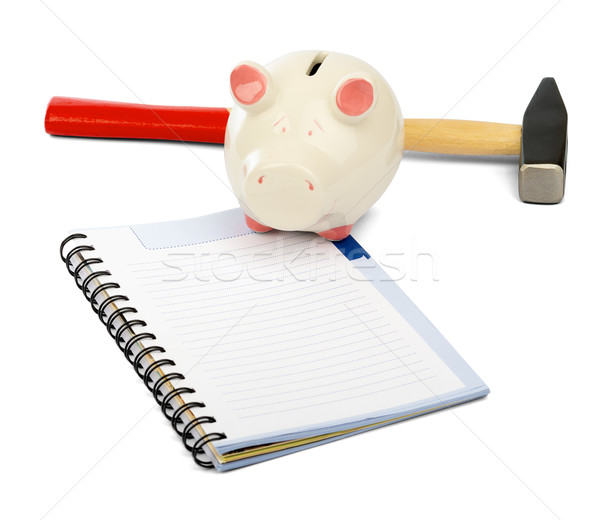 Piggy bank with hammer and pad Stock photo © cherezoff