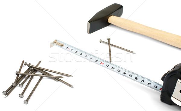 Hammer with nails Stock photo © cherezoff