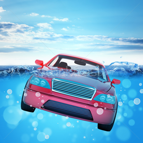 Car drowning in sea Stock photo © cherezoff
