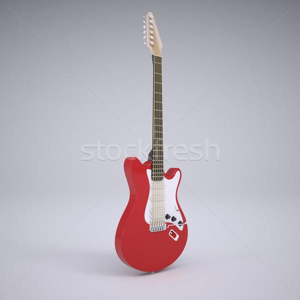 赤 エレキギター レンダー スタジオ パーティ ギター ストックフォト © cherezoff