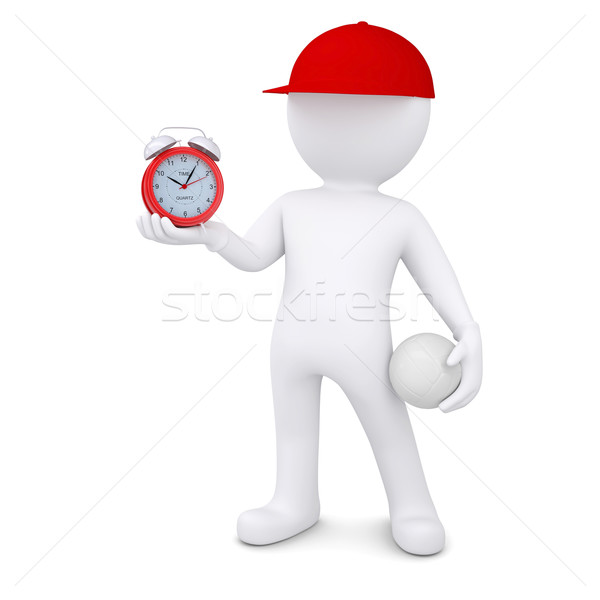 3d man with volleyball ball holding alarm clock Stock photo © cherezoff