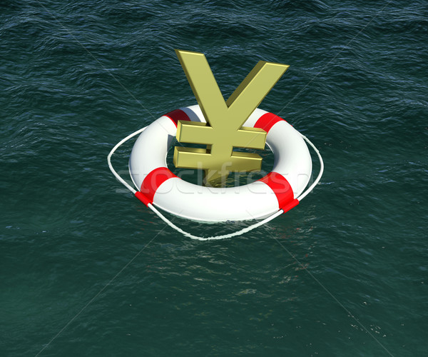 Sign of Japanese yen in terms of rescue floats on water Stock photo © cherezoff