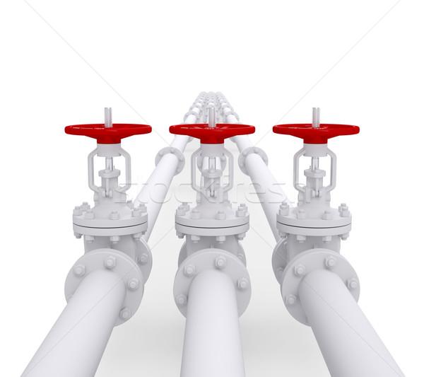 Three valves on the pipeline Stock photo © cherezoff