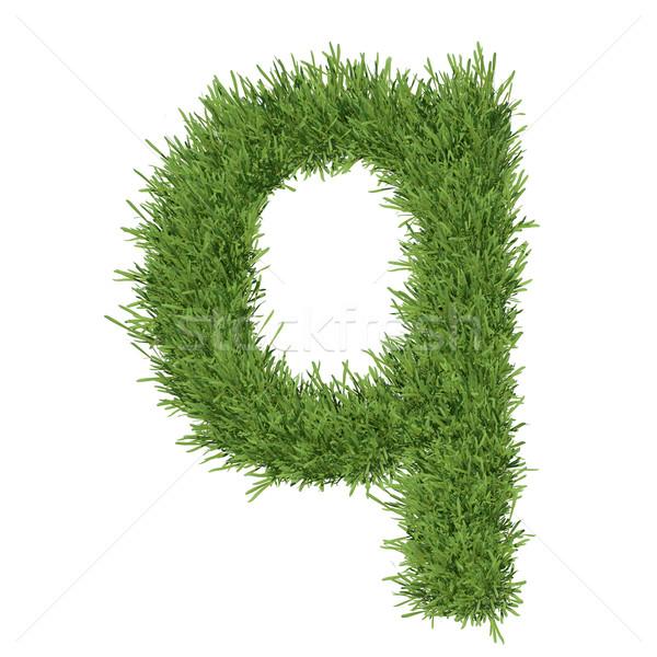 Mektup alfabe çim yalıtılmış vermek beyaz Stok fotoğraf © cherezoff