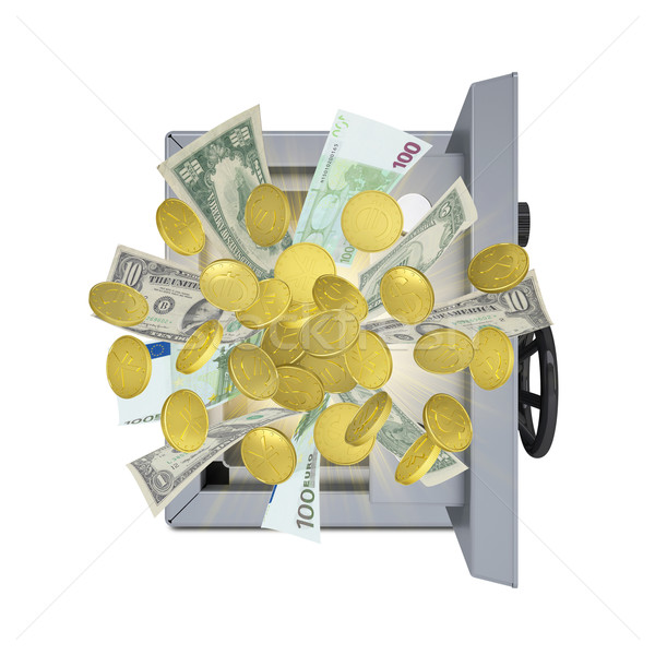 Banknotes and coins are emitted from an open safe Stock photo © cherezoff