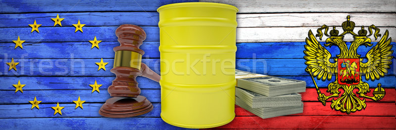 Stock photo: Concept of gas contract. Russia and European Union
