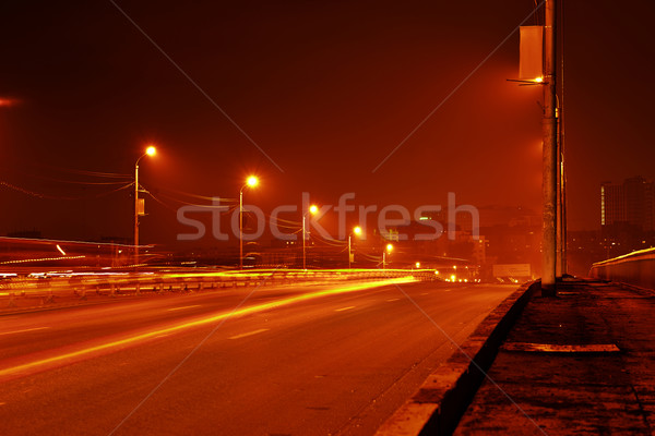 Stock photo: Night view of road in city