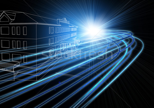 Wire-frame buildings with light on dark background Stock photo © cherezoff