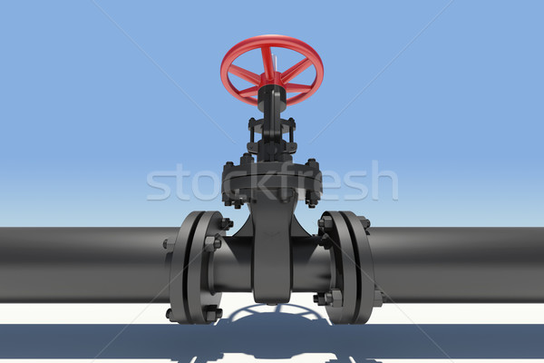 Black pipe and valve. Sky as backdrop Stock photo © cherezoff