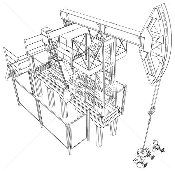 Oil Pump Jack Vector Rendering Of 3d Vector Illustration Kirill