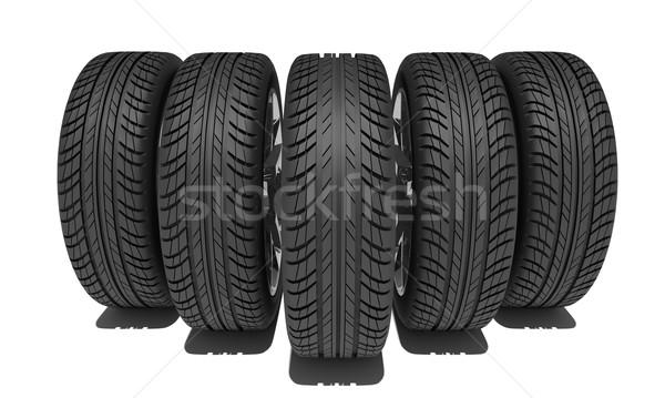 Stockfoto: Vijf · auto · wielen · geïsoleerd · witte