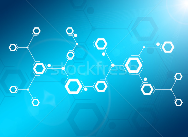 Abstract composition of white lines and hexagons Stock photo © cherezoff