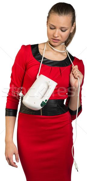 若い女性 ミキサー 下向き プル コード ストックフォト © cherezoff