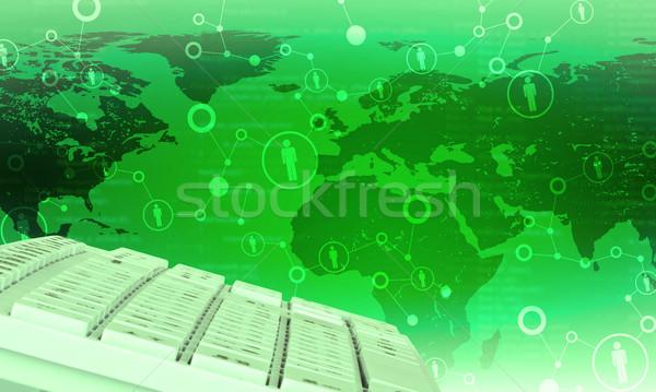 Stockfoto: Toetsenbord · groene · wereldkaart · abstract · nummers