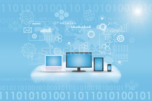 Set of gadgets on cloud Stock photo © cherezoff