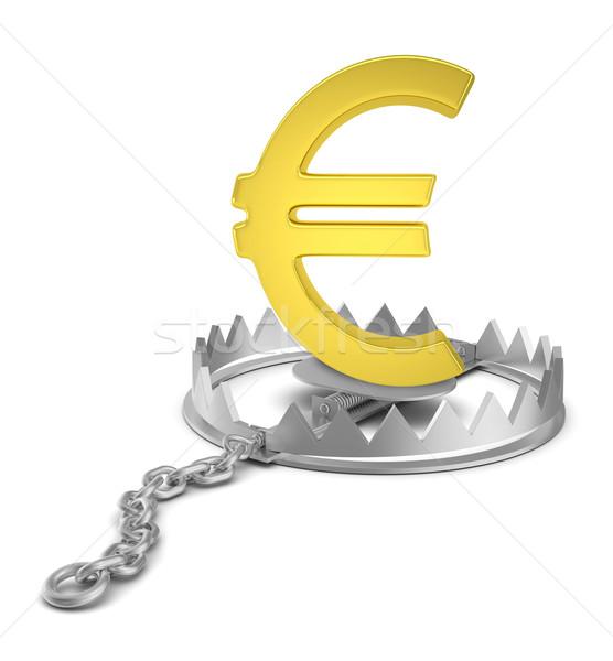 евро знак несут ловушка изолированный белый Сток-фото © cherezoff