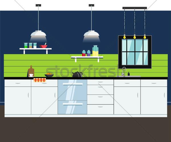 Keuken interieur vector plaat interieur zeep schotel Stockfoto © cherezoff