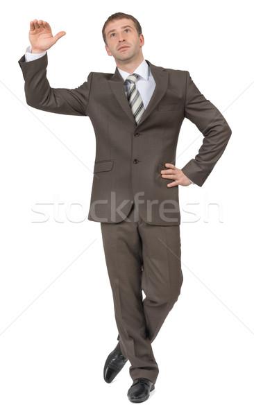 üzletember üres hely felfelé néz izolált fehér iroda Stock fotó © cherezoff